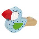 Sifflet oiseau bois peint bleu