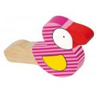 Sifflet oiseau bois peint rose