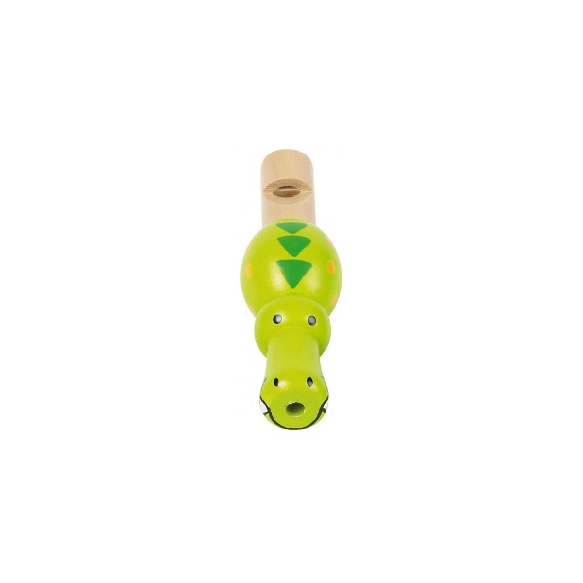 Sifflet croco bois peint vert