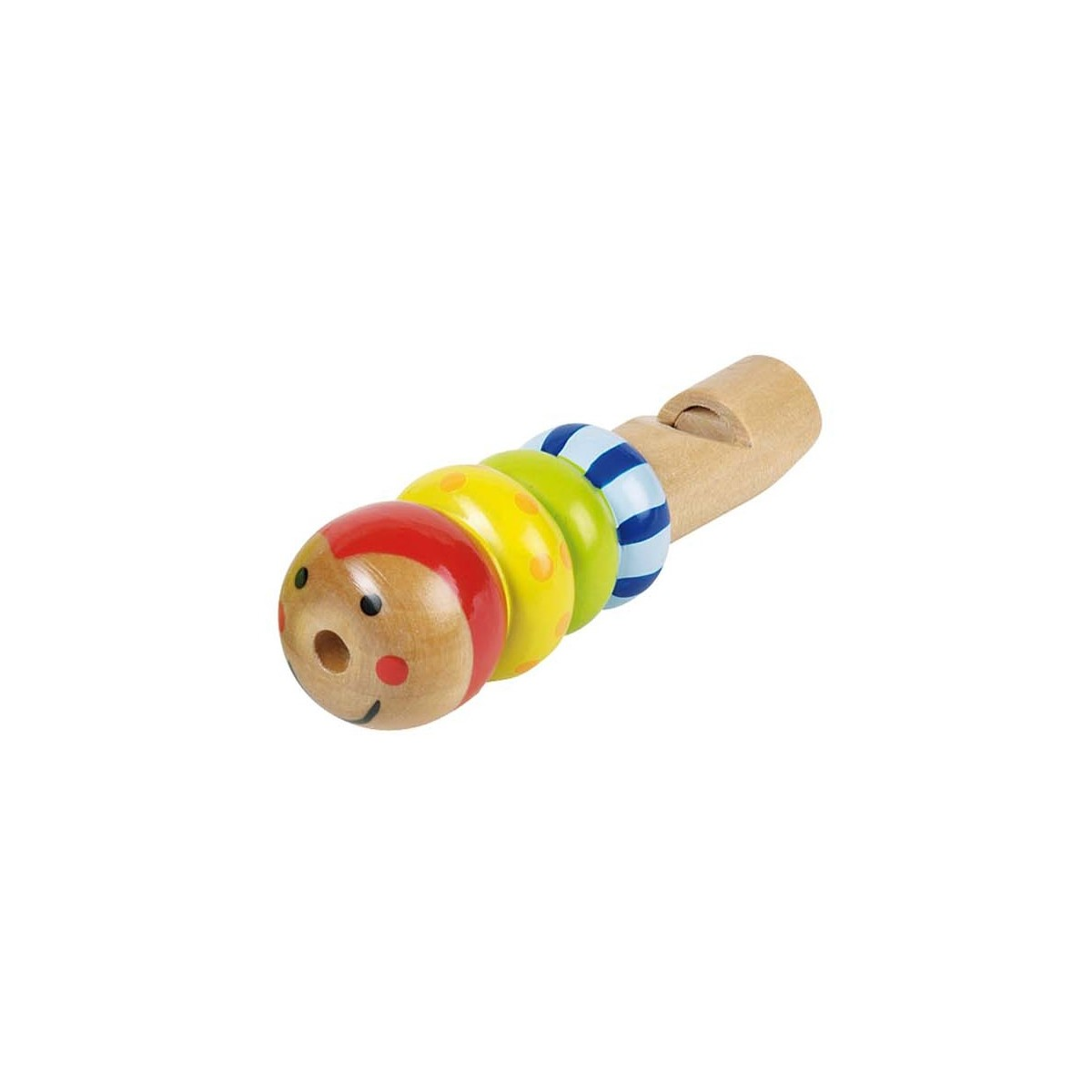 Sifflet chenille en bois peint