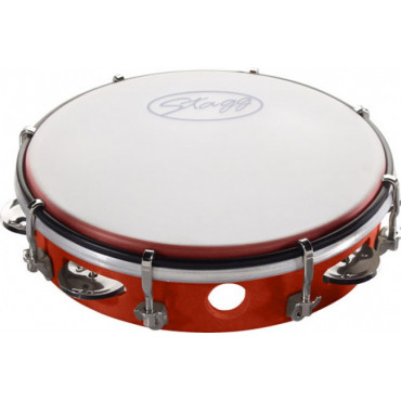 Tambourin cymbalettes accordable 21 cm rouge