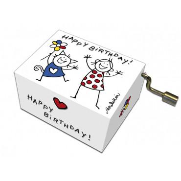 Serinette Happy Birthday motifs Fillette & Chat