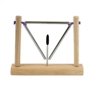 Triangle suspendu sur socle bois
