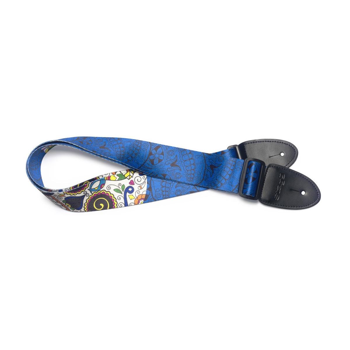 Sangle bleue guitare, motif crane mexicain