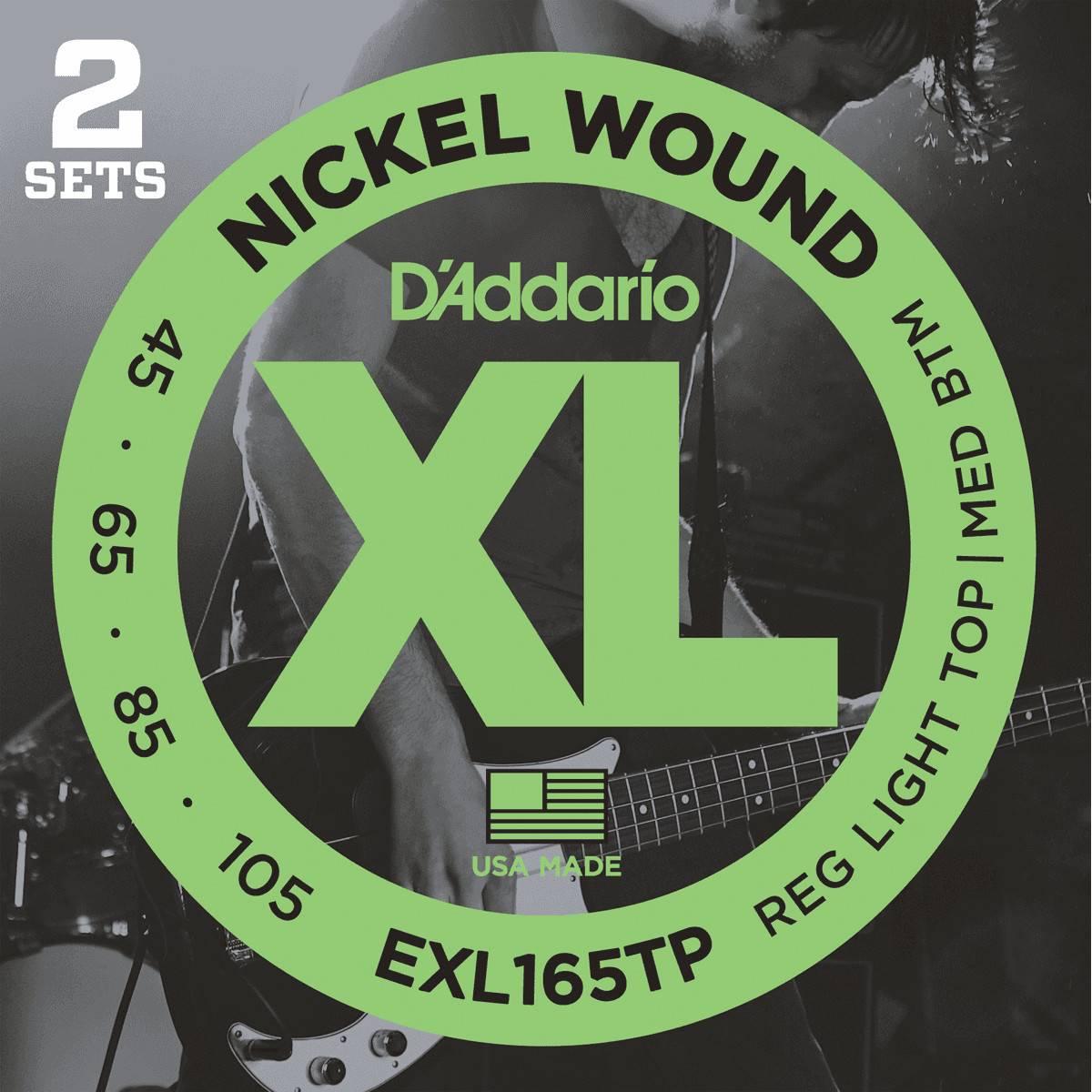 2 Jeux de Cordes D'Addario EXL165TP pour Bass