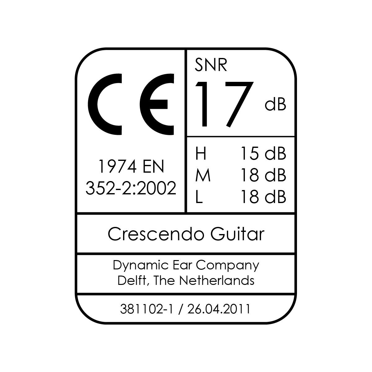 SNR 17dB - Guitar - Protection Auditive spéciale Guitare