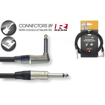 Câble professionnel instrument, jack/ jack coudé, série