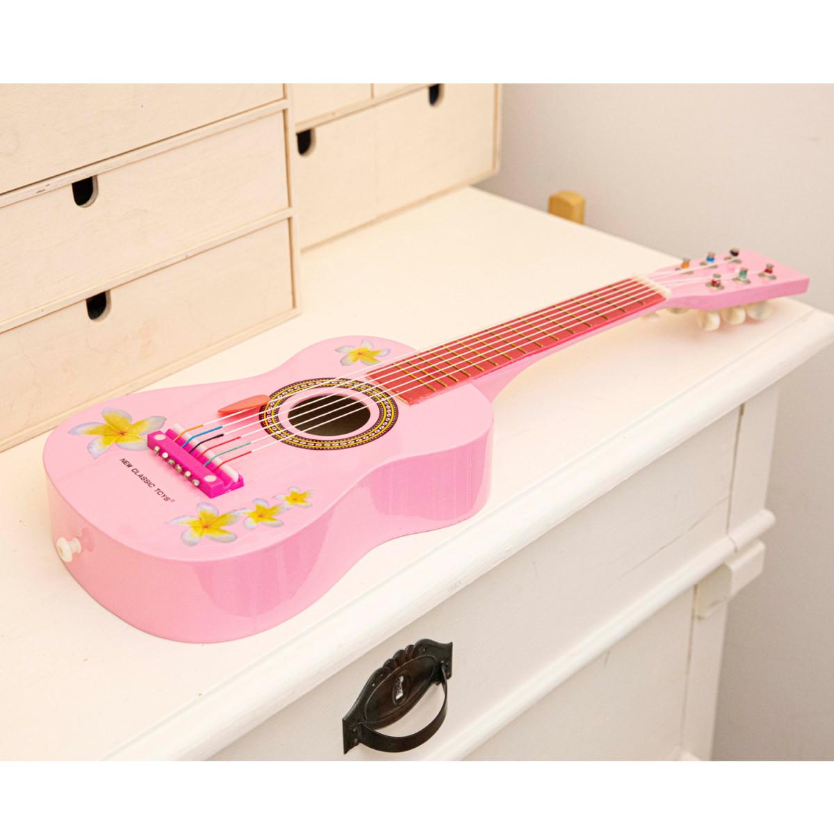 Guitare jouet rose à fleurs