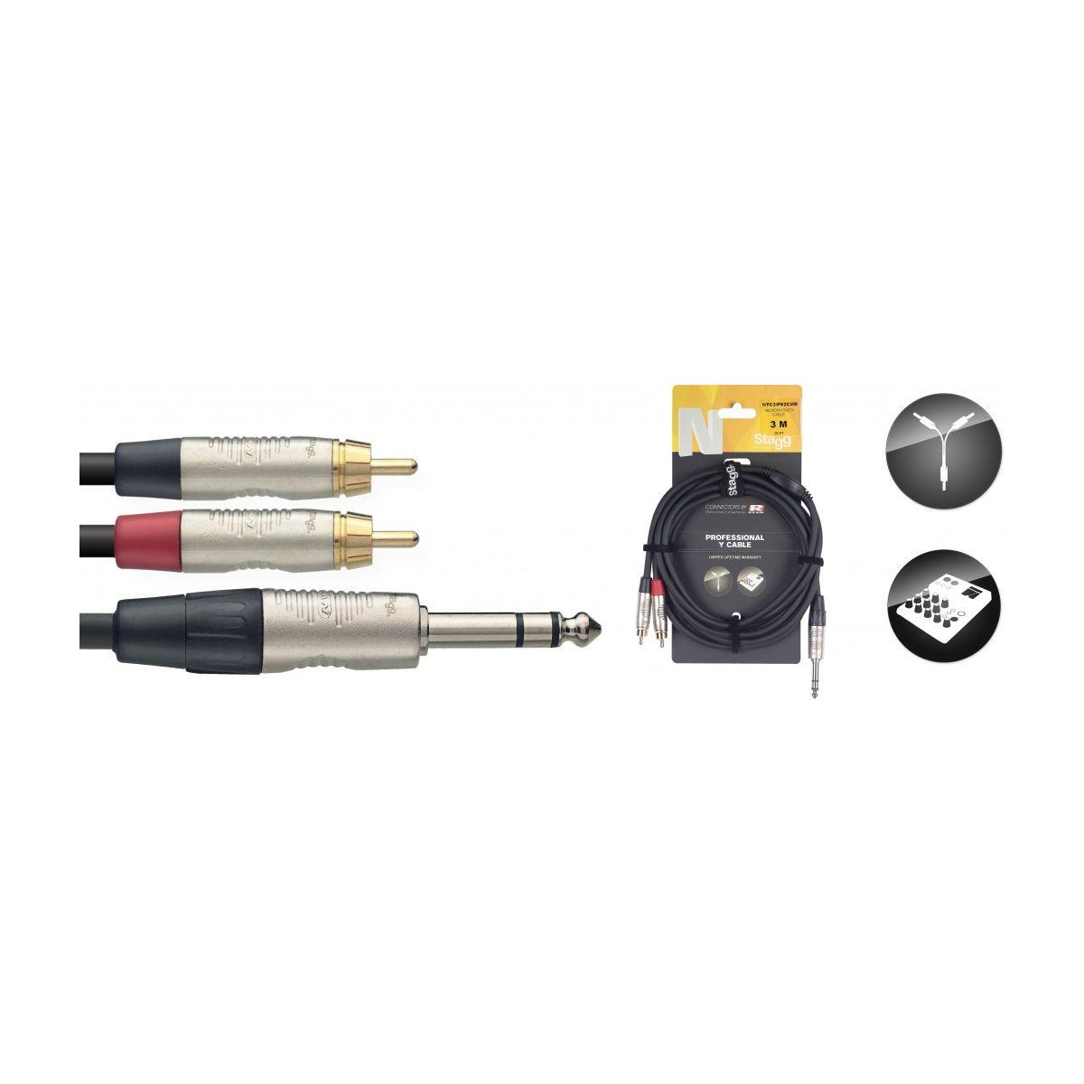 Câble Y - jack mono / 2 x RCA m. - série